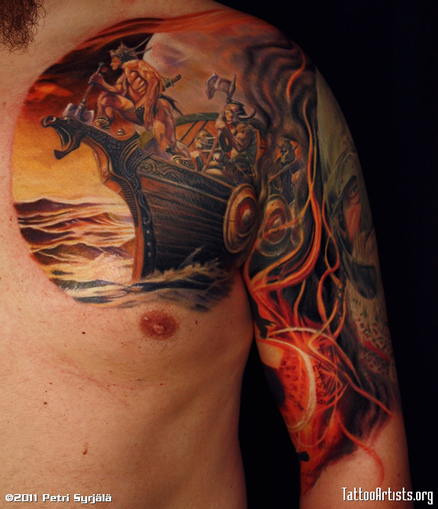 34 awesome viking tattoos for Norwegian flower tattoo