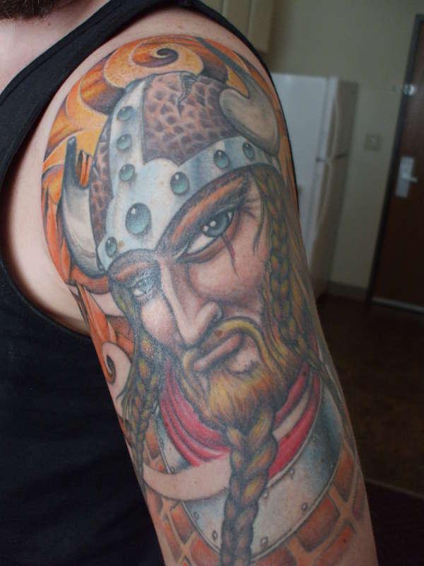 Colorful Viking Tattoo On Left Half Sleeve