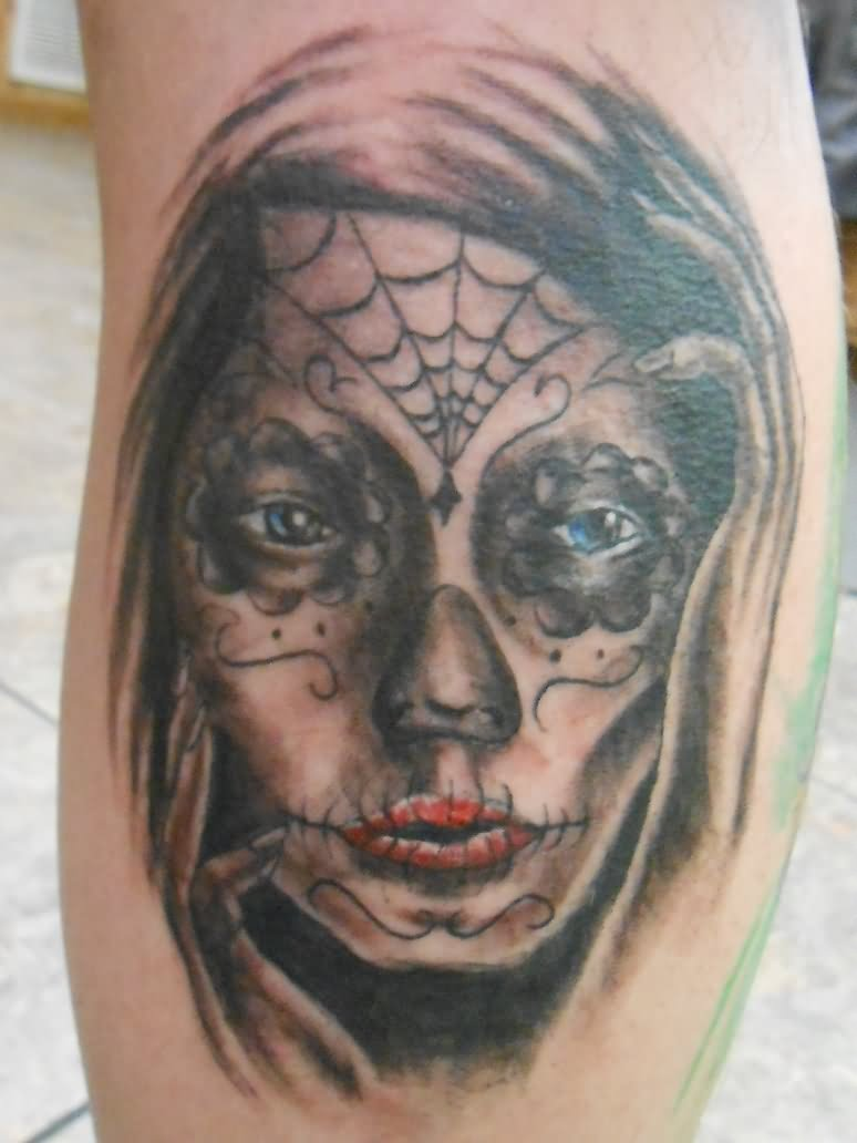 colorful dia de los muertos girl face with roses tattoo on thigh. Black Bedroom Furniture Sets. Home Design Ideas