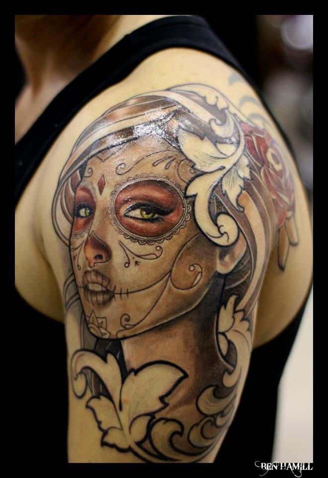 6 dia de los muertos tattoos on thigh. Black Bedroom Furniture Sets. Home Design Ideas