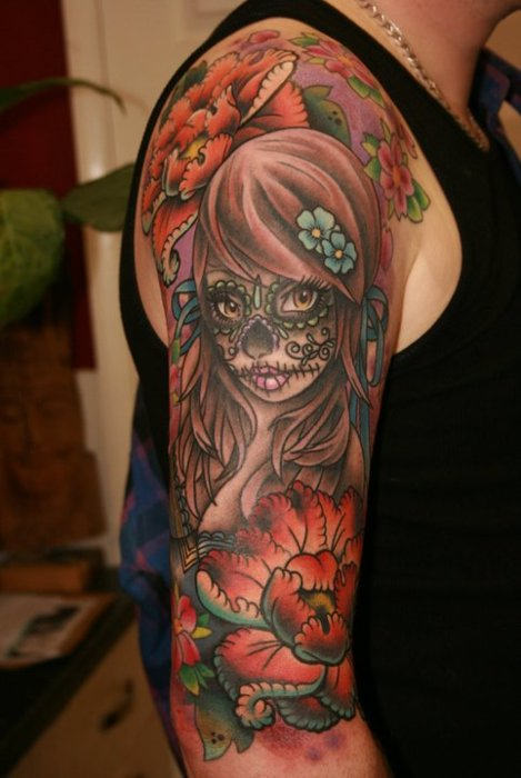 10 black and grey dia de los muertos tattoos on half sleeve. Black Bedroom Furniture Sets. Home Design Ideas