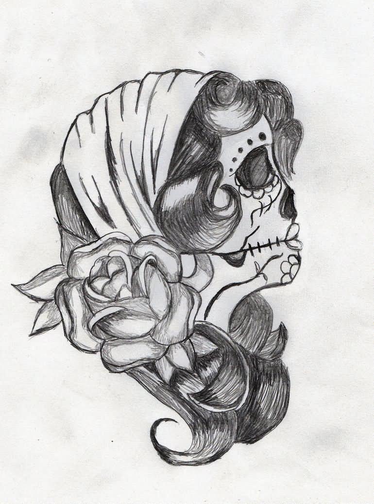 Dia De Los Muertos Girl Face With Rose Tattoo Design By Sara