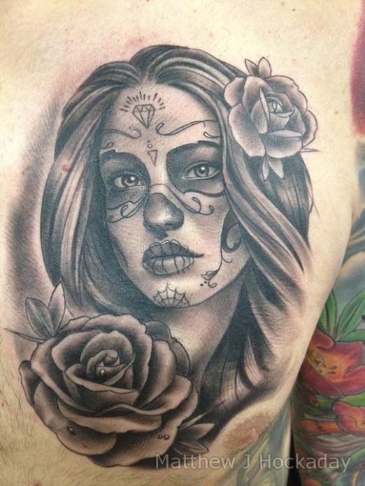 4 dia de los muertos tattoos on chest. Black Bedroom Furniture Sets. Home Design Ideas