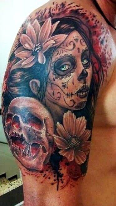 30 Incredible Dia De Los Muertos Tattoos On Half Sleeve