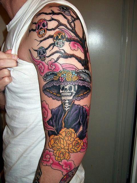 10+ Black And Grey Dia De Los Muertos Tattoos On Half Sleeve Dia De Los Muertos Sleeve Tattoos