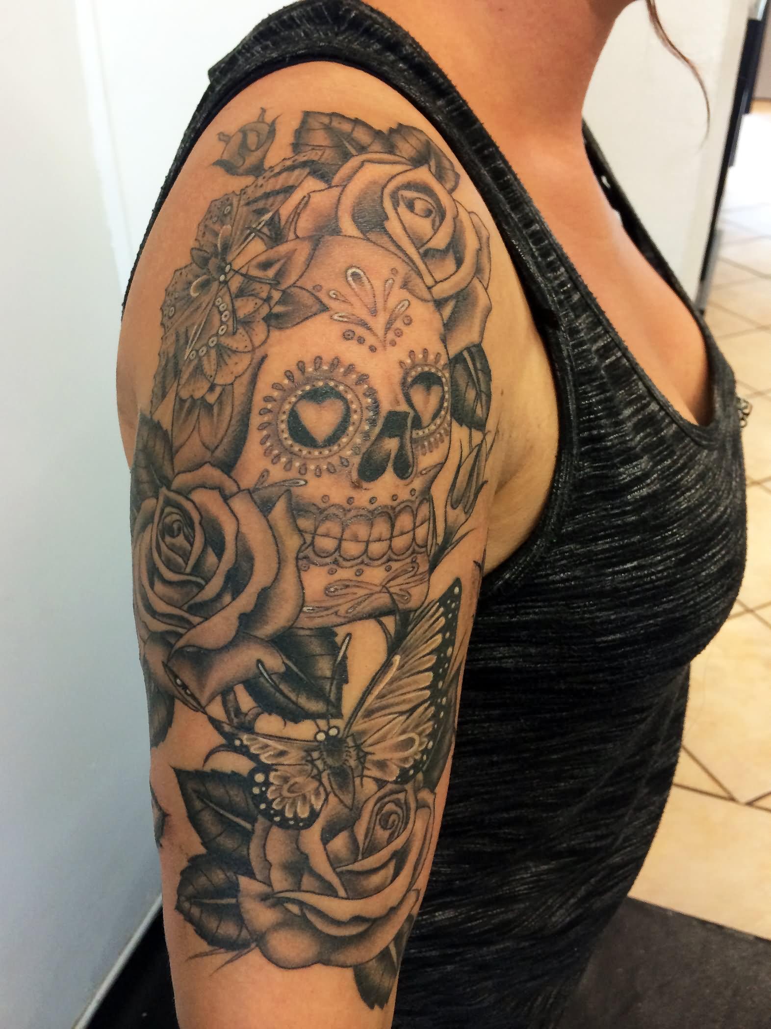 30 incredible dia de los muertos tattoos on half sleeve. Black Bedroom Furniture Sets. Home Design Ideas