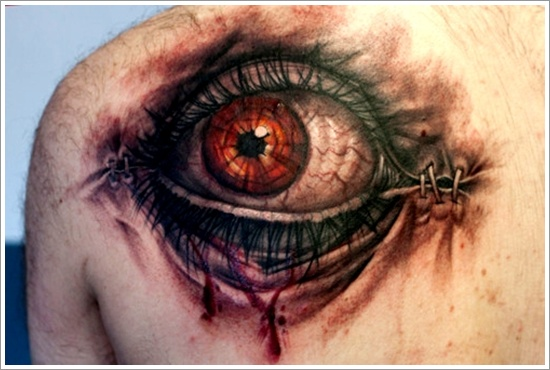 Eye Tattoo On Left Back Shoulder