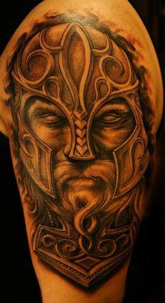 Grey Ink 3D Viking Tattoo On Half Sleeve