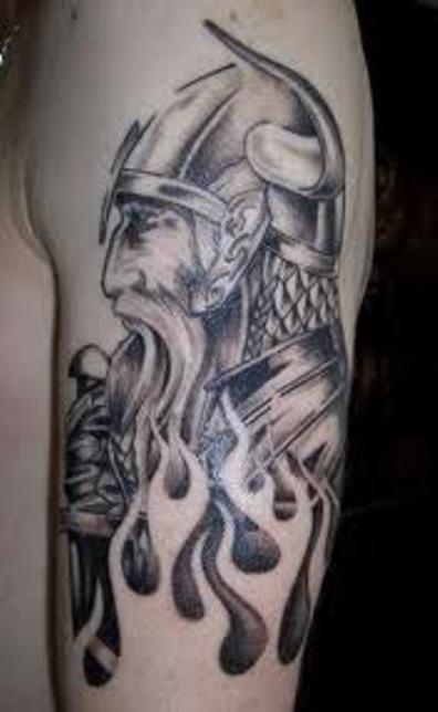 Grey Ink Flames And Viking Tattoo On Half Sleeve