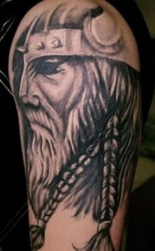 Grey Ink Viking Head Tattoo On Half Sleeve