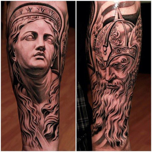 29 wonderful viking tattoos on half sleeve for Viking tattoo sleeves
