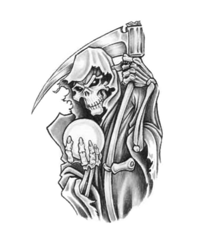 Grim Reaper Holding Hourglass Tattoo Design