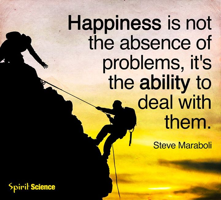Happiness is not the absence of problems, it's the ability to deal with them  – Steve Maraboli