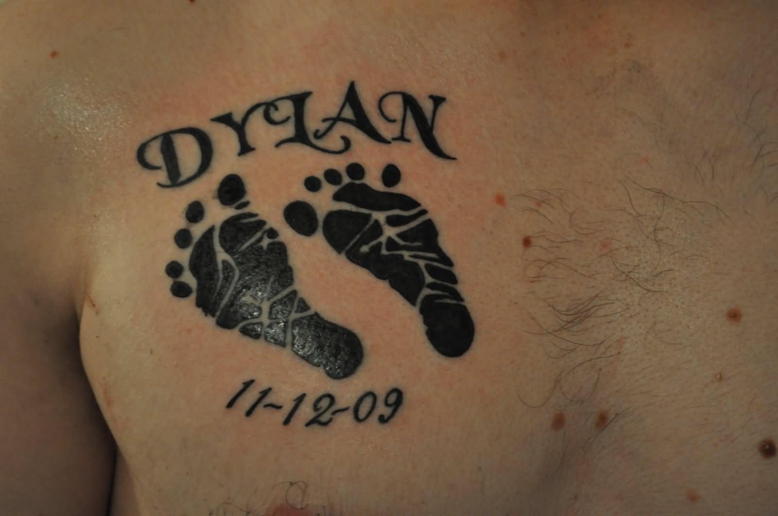 3f6a82cd2 Memorial Black Footprints Tattoo On Chest