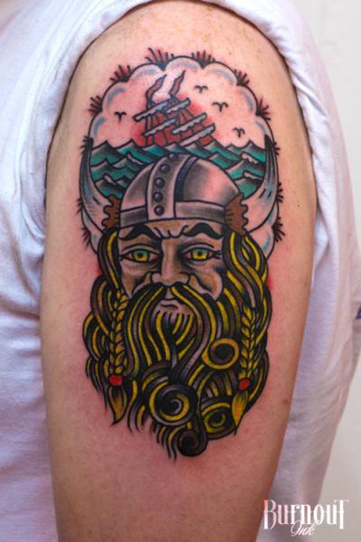 New School Colorful Viking Tattoo On Half Sleeve