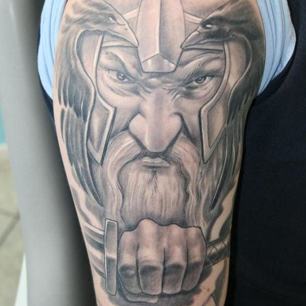 Nice Grey Viking Tattoo On Man Right Half Sleeve