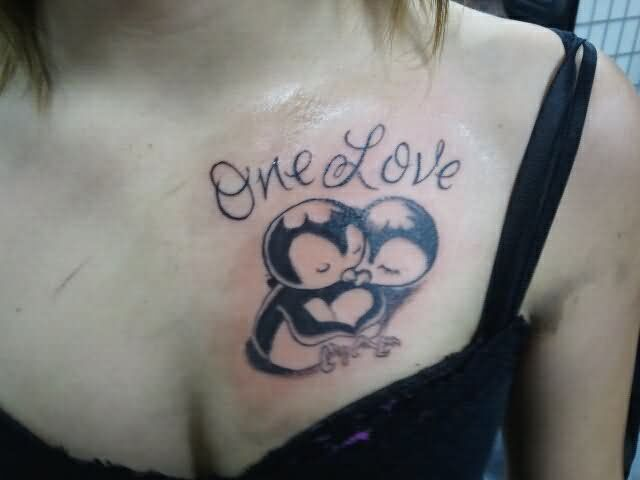 16 penguin couple tattoos for One love tattoo designs
