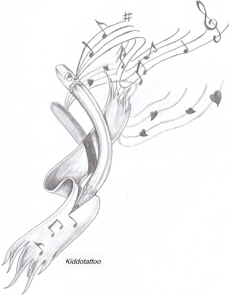 Pencil with ribbon and music knots tattoo design