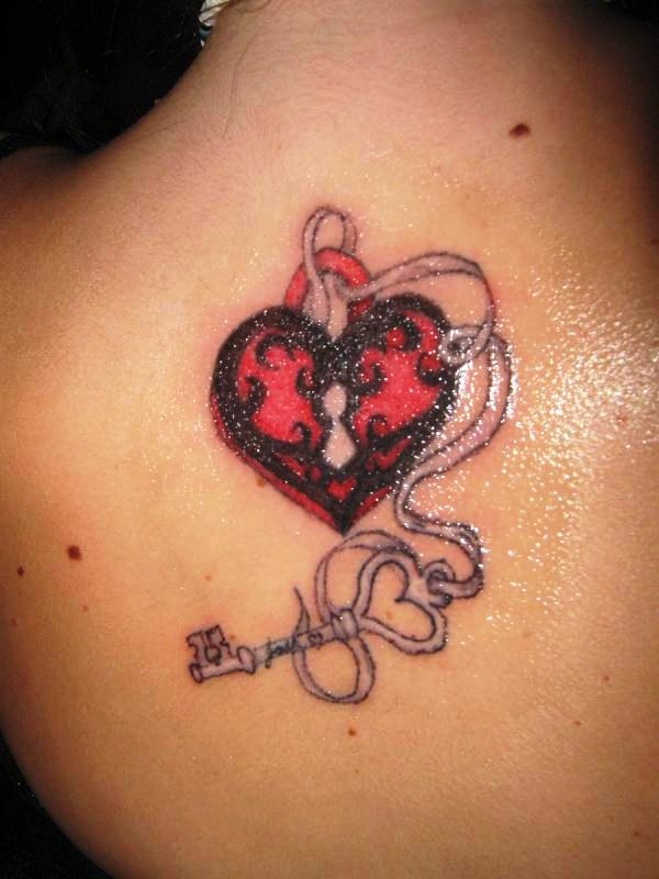 34 awesome key with ribbon tattoos. Black Bedroom Furniture Sets. Home Design Ideas