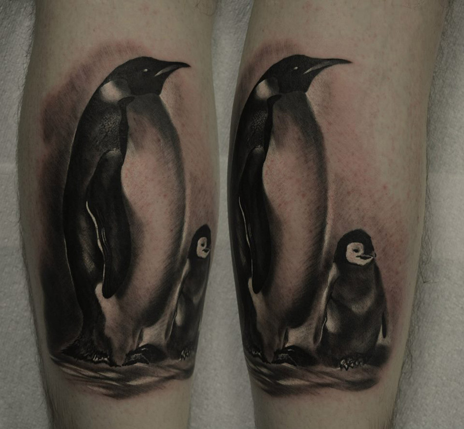 e65f85fad Realistic Black And Grey Penguin Mon And Baby Tattoos