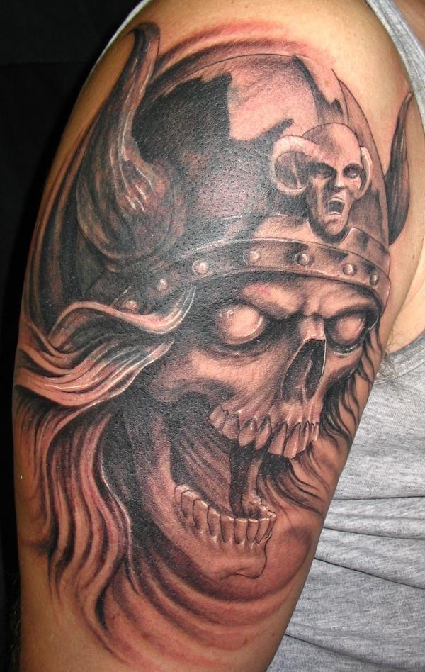 Viking Head Skull Tattoo On Half Sleeve