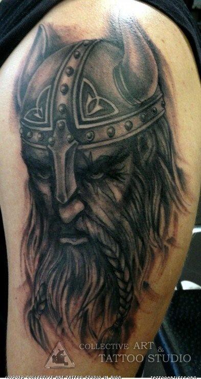 Viking Tattoo On Man Left Half Sleeve