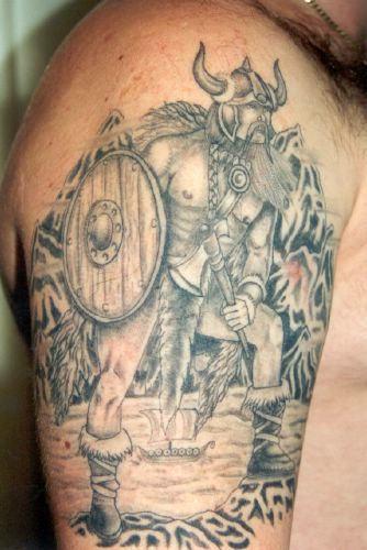 Viking Tattoo On Man Right Half Sleeve