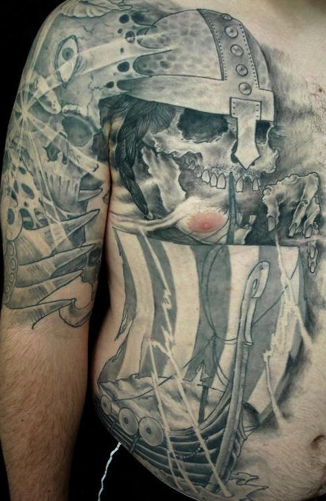 Viking Tattoo On Right Half Sleeve And Side Body