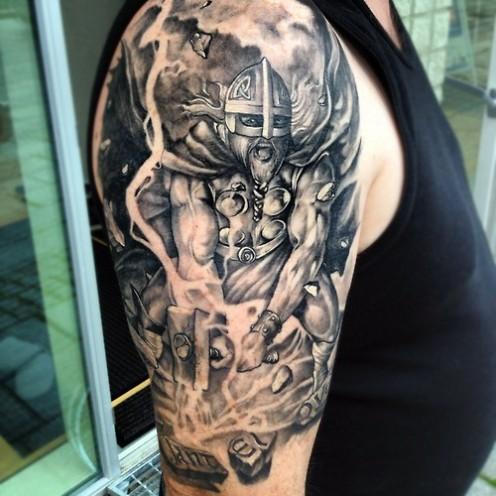 Viking Tattoo On Right Half Sleeve For Men