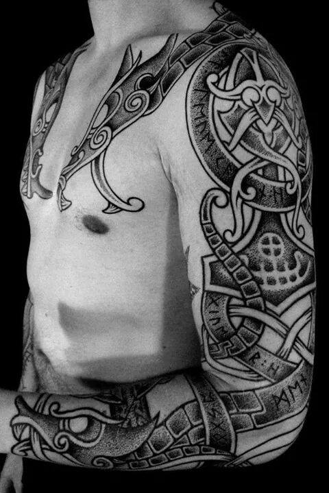 Viking tattoo on sleeve by colin dale for Viking tattoo sleeves