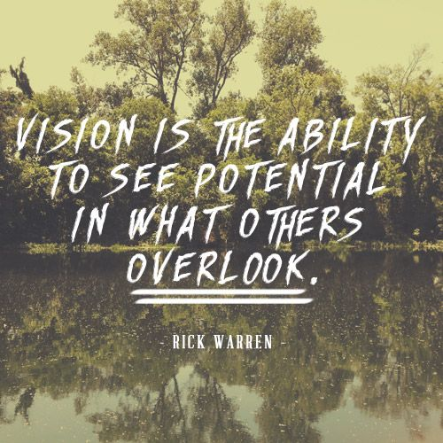 Vision is the ability to see potential in what others overlook.