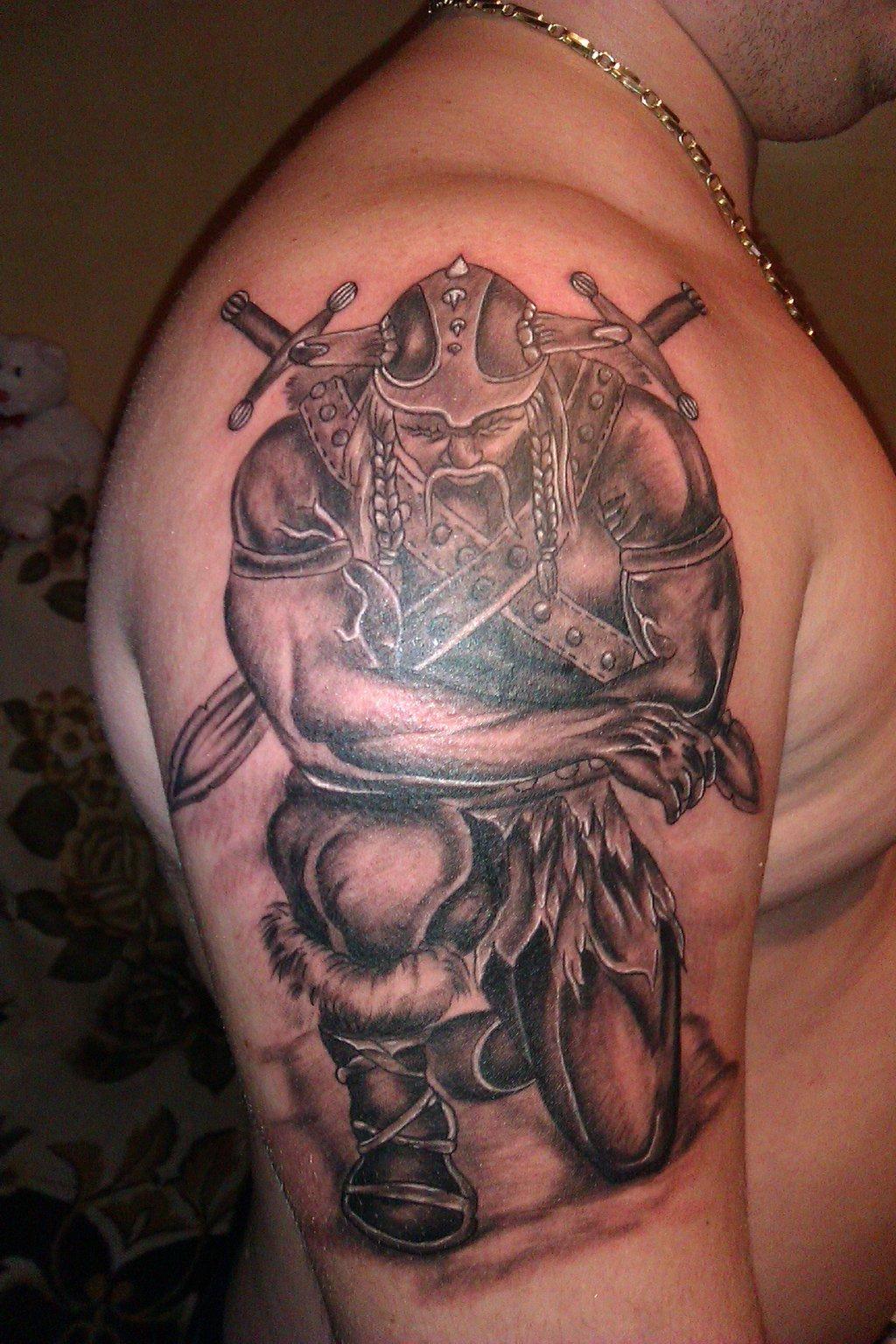 Warrior Viking Tattoo On Man Right Half Sleeve