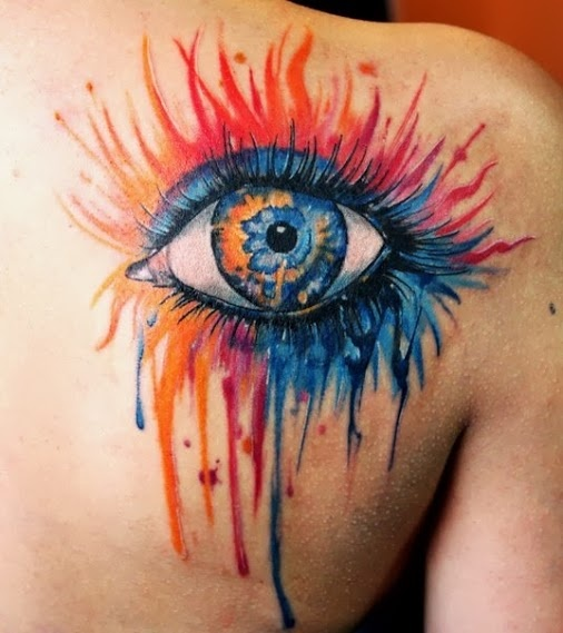 Watercolor Eye Tattoo On Right Back Shoulder
