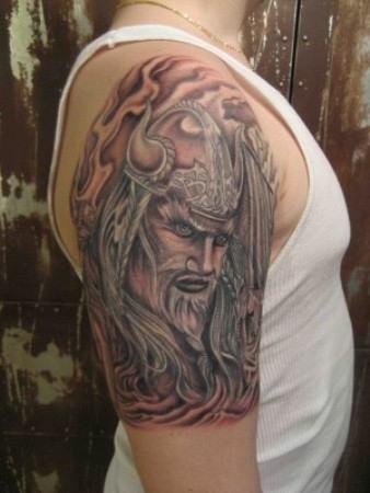 Wonderful Grey Viking Tattoo On Right Half Sleeve