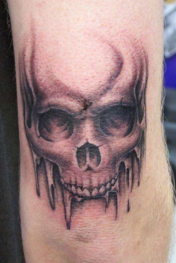 1a16d1a66 Amazing Skull Tattoo Design For Elbow
