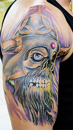 31 viking skull tattoo designs and images ideas for Viking skull tattoo