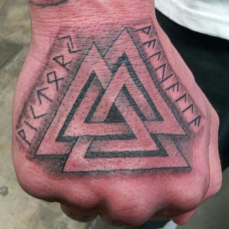 45fdd87e9 Black And Grey Viking Triangles Tattoo On Hand