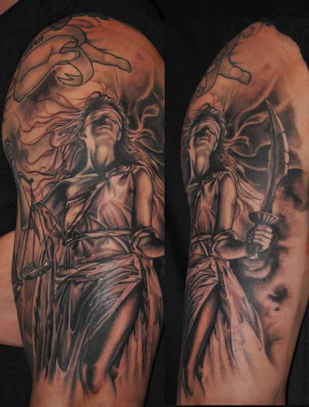 Lady justice scales tattoos 23 lady justice tattoos on sleeve