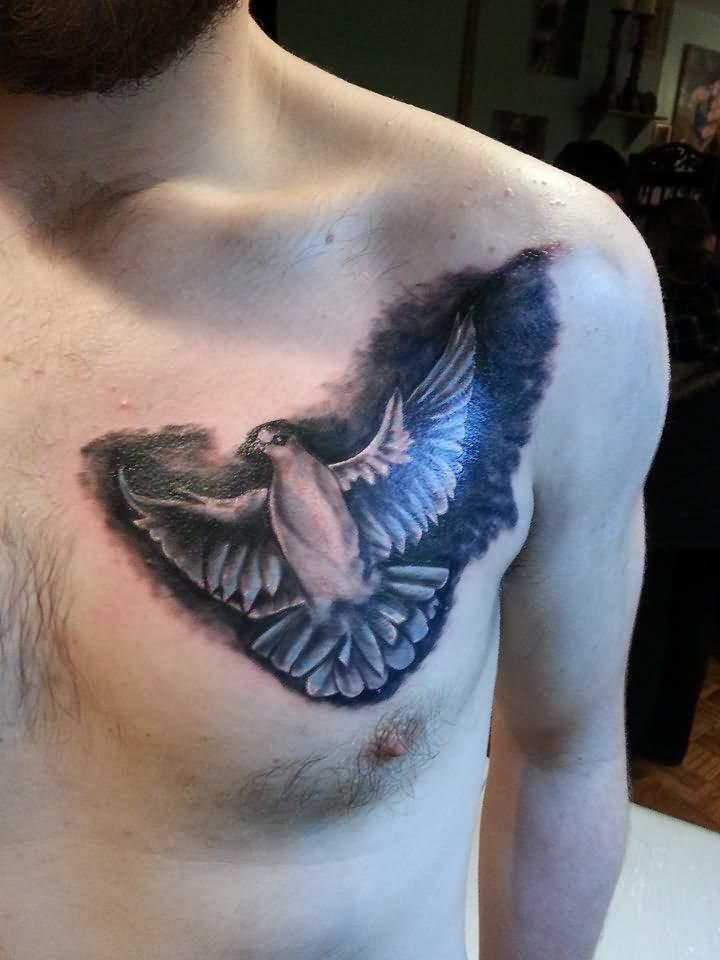 black ink flying pigeon tattoo design for waist. Black Bedroom Furniture Sets. Home Design Ideas