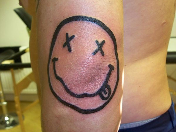 Black Outline Smiley Face Tattoo Design For Elbow