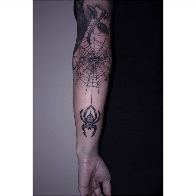 d85074a40 Black Spider With Web Tattoo On Left Elbow By Kristina Elin