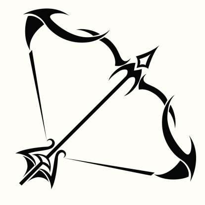 Black Tribal Sagittarius Zodiac Tattoo Design