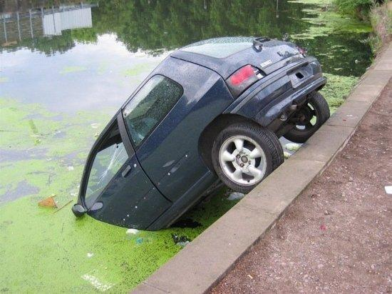 Car Fallen In Canal Funny Picture