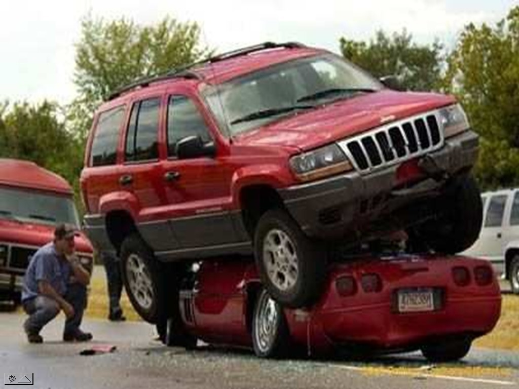 Car On Car Funny Crash Picture