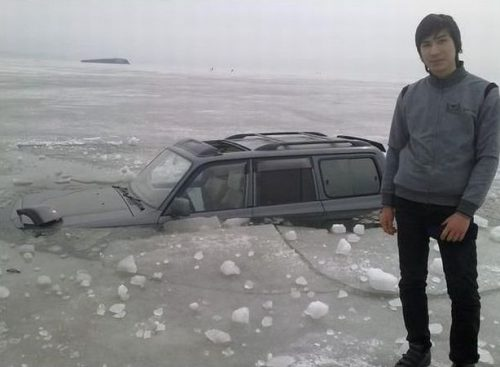 Car Stuck In Ice Funny Picture