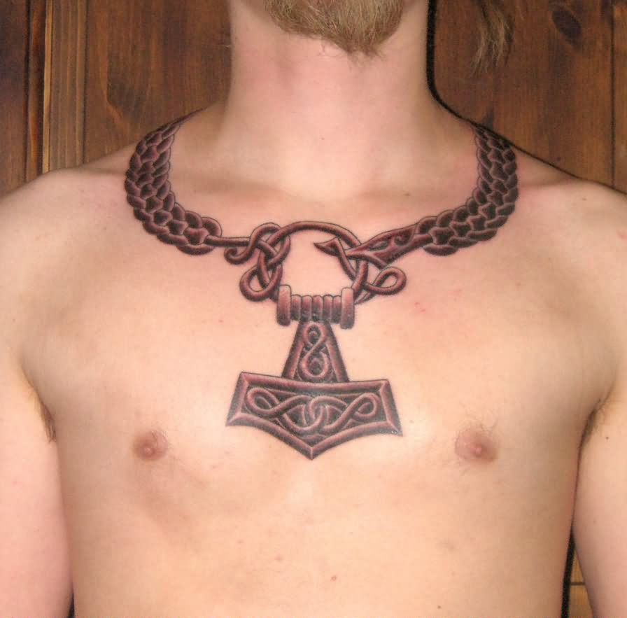 Viking tattoo on man chest and full sleeve for Did vikings have tattoos