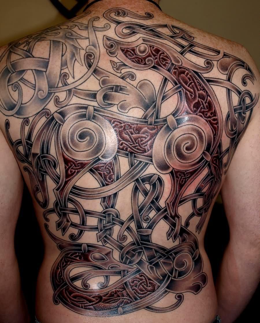 8d3a809ed Celtic Viking Tattoo On Full Back Body