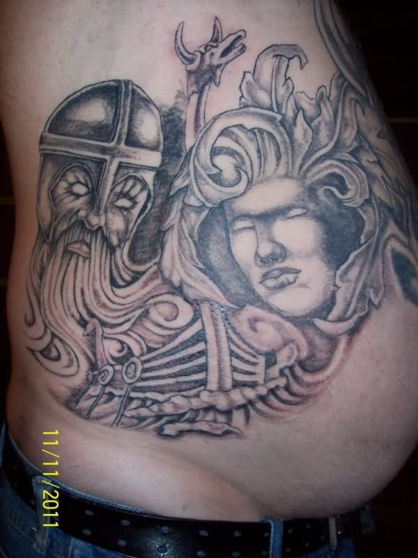 celtic viking tattoo on man side rib. Black Bedroom Furniture Sets. Home Design Ideas