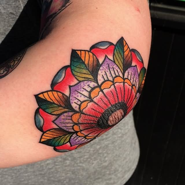 Colorful Flower Tattoo Design For Elbow