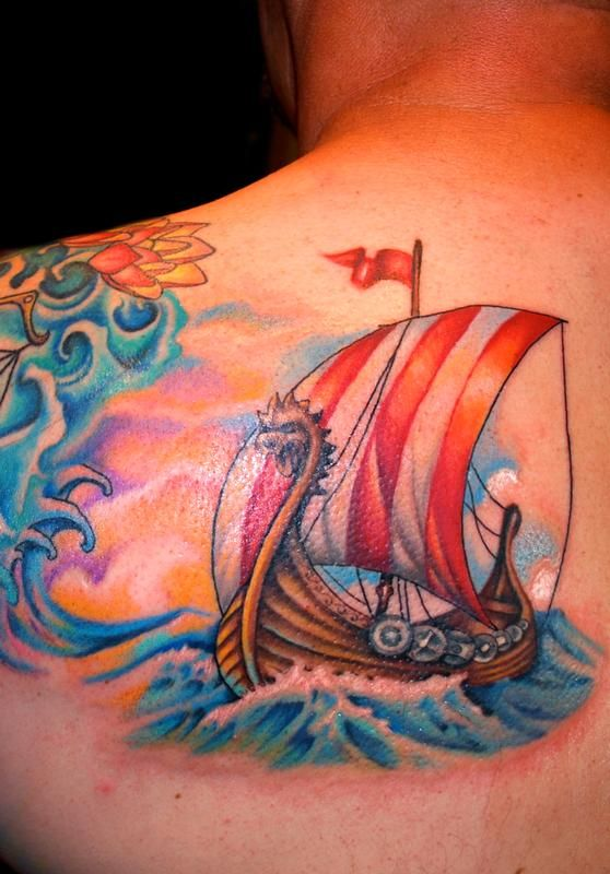 30 incredible viking ship tattoos. Black Bedroom Furniture Sets. Home Design Ideas